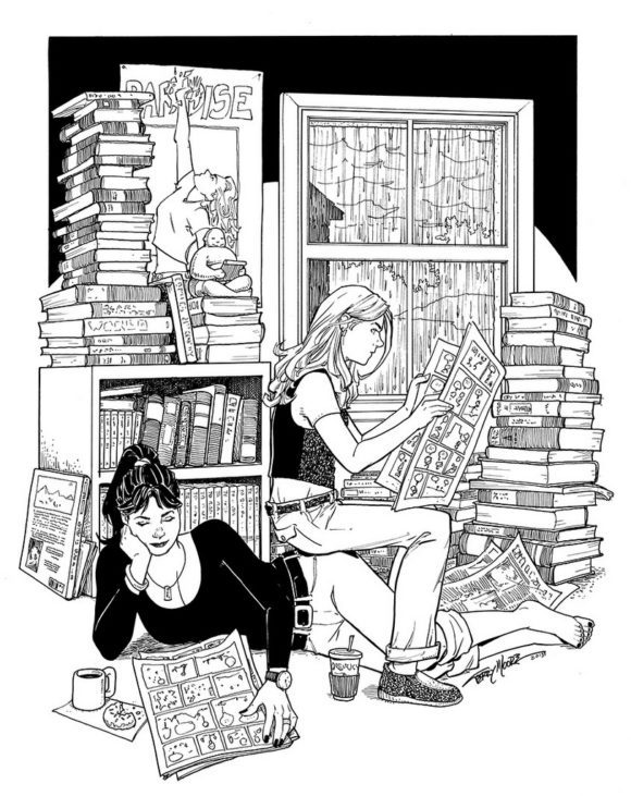 Francine and Katchoo reading comics - Terry Moore, Strangers in paradise